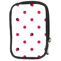 Strawberry Dots Pink Compact Camera Leather Case