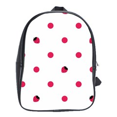 Strawberry Dots Pink School Bag (large)