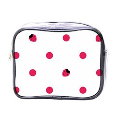 Strawberry Dots Pink Mini Toiletries Bag (One Side)