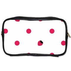 Strawberry Dots Pink Toiletries Bag (Two Sides)