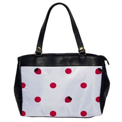 Strawberry Dots Pink Oversize Office Handbag (one Side)