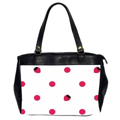 Strawberry Dots Pink Oversize Office Handbag (Two Sides)