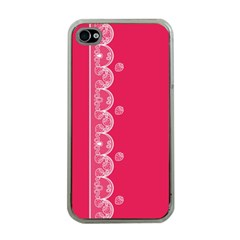 Strawberry Lace White With Pink Apple Iphone 4 Case (clear)