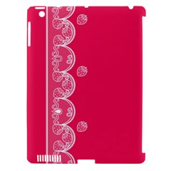 Strawberry Lace White With Pink Apple iPad 3/4 Hardshell Case (Compatible with Smart Cover)