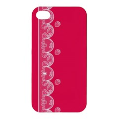 Strawberry Lace White With Pink Apple iPhone 4/4S Premium Hardshell Case