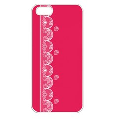 Strawberry Lace White With Pink Apple iPhone 5 Seamless Case (White)