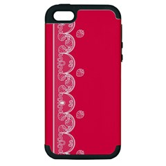 Strawberry Lace White With Pink Apple iPhone 5 Hardshell Case (PC+Silicone)
