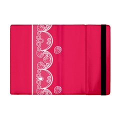 Strawberry Lace White With Pink Apple Ipad Mini Flip Case