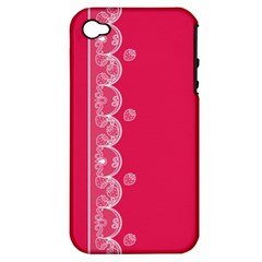 Strawberry Lace White With Pink Apple iPhone 4/4S Hardshell Case (PC+Silicone)