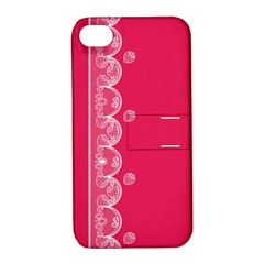 Strawberry Lace White With Pink Apple Iphone 4/4s Hardshell Case With Stand