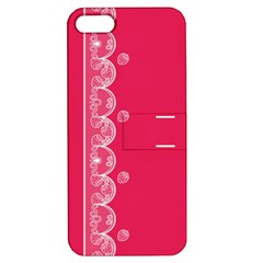 Strawberry Lace White With Pink Apple iPhone 5 Hardshell Case with Stand