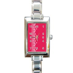 Strawberry Lace White With Pink Rectangular Italian Charm Watch