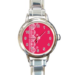 Strawberry Lace White With Pink Round Italian Charm Watch