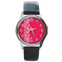 Strawberry Lace White With Pink Round Metal Watch