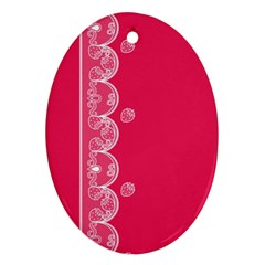 Strawberry Lace White With Pink Ornament (oval)