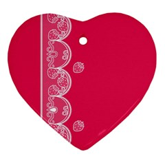 Strawberry Lace White With Pink Ornament (Heart)