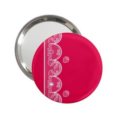 Strawberry Lace White With Pink 2 25  Handbag Mirror
