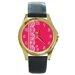 Strawberry Lace White With Pink Round Gold Metal Watch