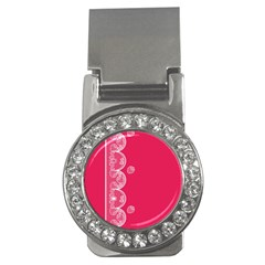 Strawberry Lace White With Pink Money Clip (cz)
