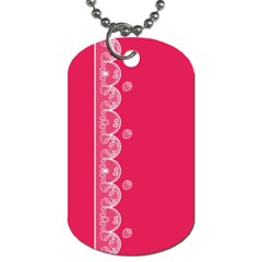 Strawberry Lace White With Pink Dog Tag (One Side)
