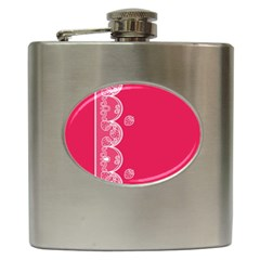 Strawberry Lace White With Pink Hip Flask (6 oz)