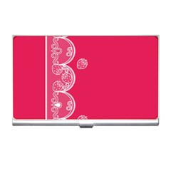 Strawberry Lace White With Pink Business Card Holder