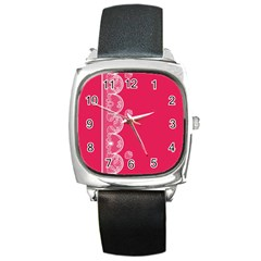 Strawberry Lace White With Pink Square Metal Watch