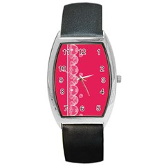 Strawberry Lace White With Pink Barrel Style Metal Watch