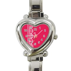 Strawberry Lace White With Pink Heart Italian Charm Watch