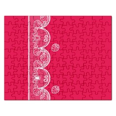 Strawberry Lace White With Pink Jigsaw Puzzle (Rectangular)