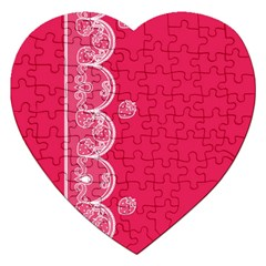 Strawberry Lace White With Pink Jigsaw Puzzle (Heart)