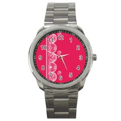 Strawberry Lace White With Pink Sport Metal Watch