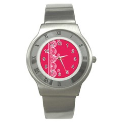 Strawberry Lace White With Pink Stainless Steel Watch