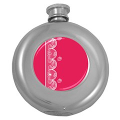 Strawberry Lace White With Pink Hip Flask (5 oz)