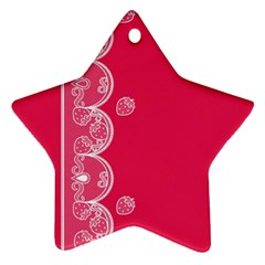 Strawberry Lace White With Pink Star Ornament (two Sides)