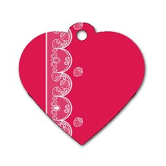 Strawberry Lace White With Pink Dog Tag Heart (One Side)