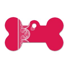 Strawberry Lace White With Pink Dog Tag Bone (One Side)