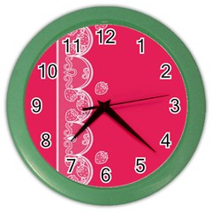 Strawberry Lace White With Pink Color Wall Clock