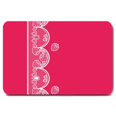 Strawberry Lace White With Pink Large Doormat