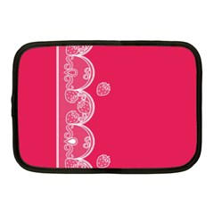 Strawberry Lace White With Pink Netbook Case (medium)