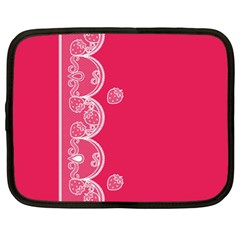 Strawberry Lace White With Pink Netbook Case (Large)