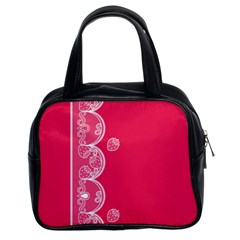 Strawberry Lace White With Pink Classic Handbag (Two Sides)