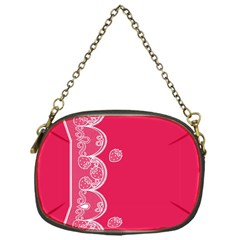 Strawberry Lace White With Pink Chain Purse (one Side)