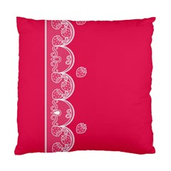 Strawberry Lace White With Pink Cushion Case (Two Sides)