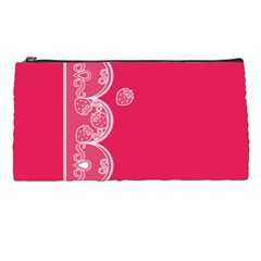 Strawberry Lace White With Pink Pencil Case