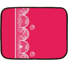 Strawberry Lace White With Pink Mini Fleece Blanket(Two Sides)