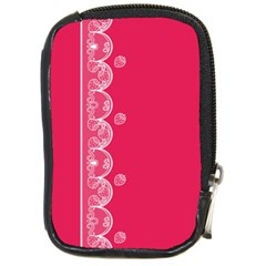 Strawberry Lace White With Pink Compact Camera Leather Case