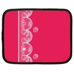 Strawberry Lace White With Pink Netbook Case (XXL)