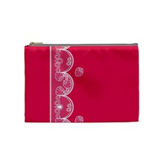 Strawberry Lace White With Pink Cosmetic Bag (medium)