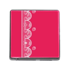 Strawberry Lace White With Pink Memory Card Reader With Storage (square)